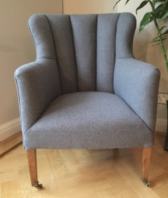Traditional Fluted armchair in Camira Blazer Aberlour wool